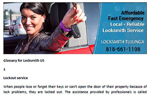 Glossary for Locksmith in Tujunga  - Click here to download